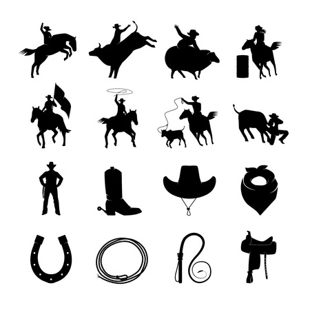 Rodeo black icons with cowboys silhouettes riding on bulls and wild horses and rodeo accessories isolated vector illustration