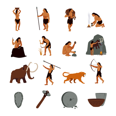 tribu: Prehistóricos iconos de la edad de piedra ubicados presentando la vida de hombres de las cavernas y sus herramientas primitivas ilustración vectorial aislado plana Vectores