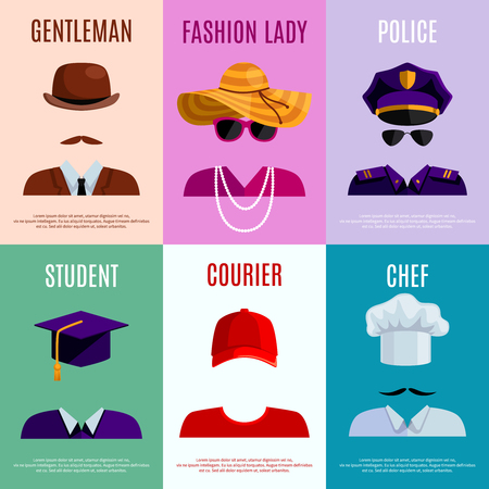 mini job: Flat mini posters set of gentleman lady police student courier and chef hats and accessories vector illustration