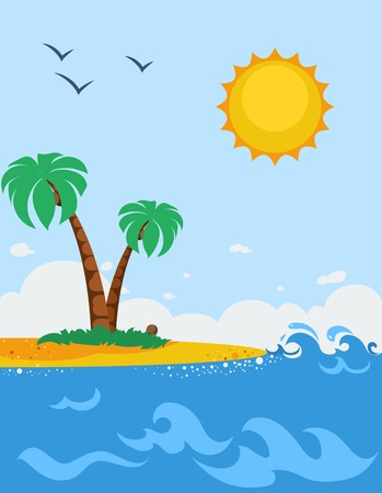 foaming: Sea landscape cartoon poster with sandy beach palm trees sun and seagulls flat vector illustration