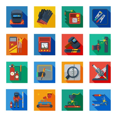cleats: Welding flat icons in colorful squares with welder tools protection clothes and measuring instrument isolated vector illustration