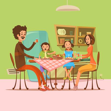 Familia que tiene comida en la cocina con nevera y mesa de ilustración vectorial de dibujos animados retro