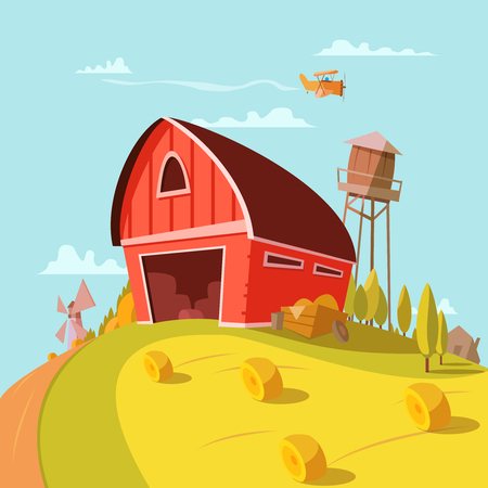 grain storage: Farm building cartoon background with fields grain and hay vector illustration