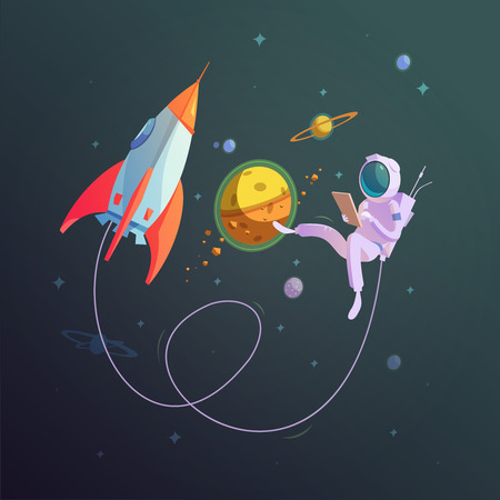 spacesuit: Open space background with rocket and cosmonaut in a spacesuit cartoon vector illustration