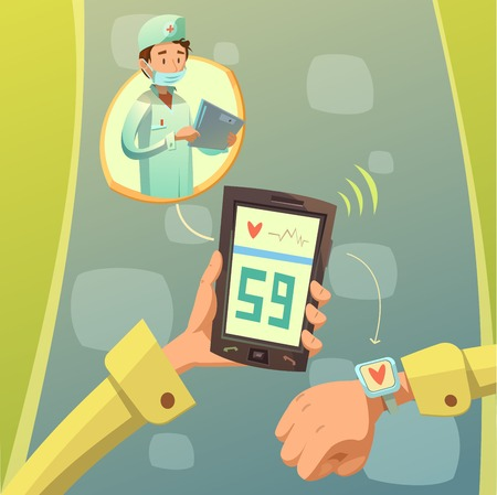 hospital cartoon: Mobile doctor consultation background with pulse and heartbeat test symbols cartoon vector illustration