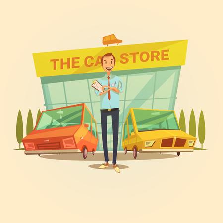Autohändler und Autogeschäft Cartoon-Konzept mit verschiedenen Arten von Autos Vektor-Illustration