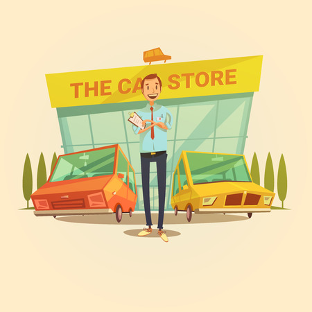 Concessionnaire et voiture concept de dessin animé de magasin avec différents types de voitures illustration vectorielle