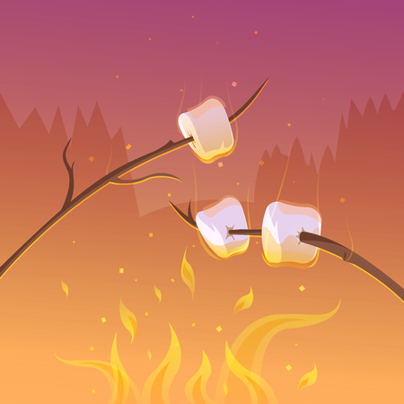 Barbecue und Wandern in der Nacht Cartoon-Hintergrund mit Stöcken und Feuer Vektor-Illustration