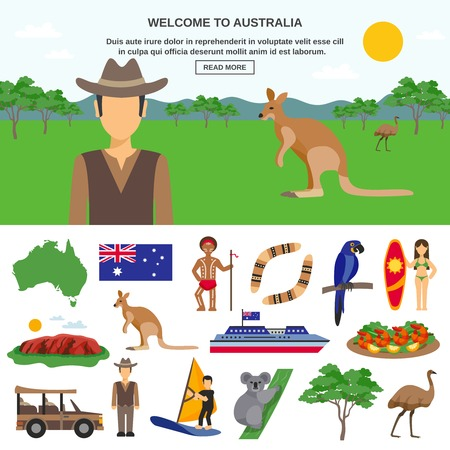Australien Reise-Konzept mit wild lebenden Tieren Symbole des Landes und sportlichen Tourismus isoliert Vektor-Illustration