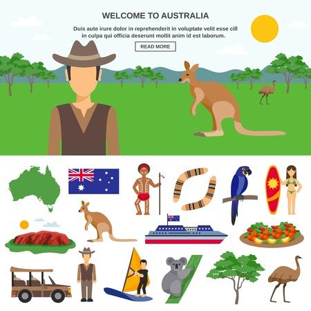 reisconcept Australië met wilde dieren symbolen van het land en sportieve geïsoleerde toerisme vector illustratie