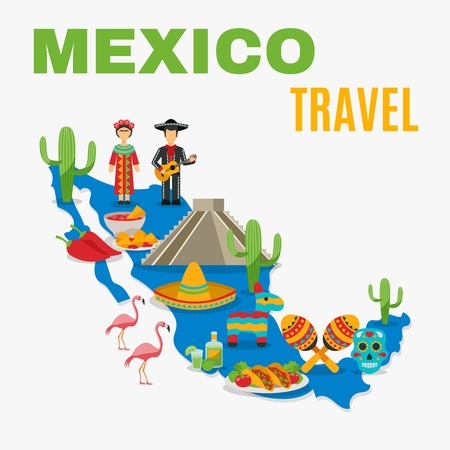 Mexico map with traditional food birds costumes and history object on the white background vector illustration