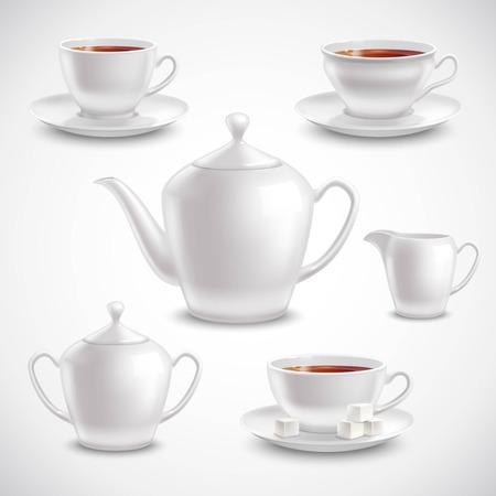 채워진 된 teacups 냄비와 흰색 배경 벡터 일러스트 레이 션에 설탕 그릇 세트 현실적인 차