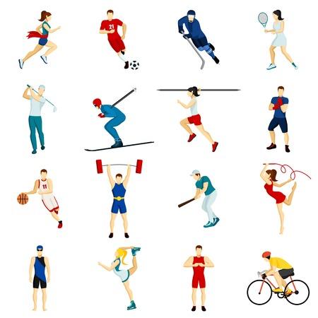 사람들이 스포츠 고립 아이콘 플랫 스타일의 벡터 일러스트 레이 션 신체 활동의 다양한 종류의 설정