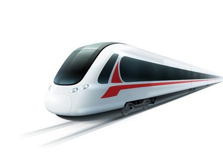 Super snella treni ad alta velocità su sfondo bianco emblema un'immagine realistica manifesto illustrazione vettoriale isolato Vettoriali