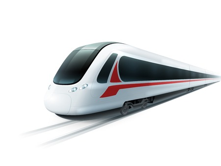Super streamlined high-speed train on white background emblem realistic image ad poster isolated vector illustration Иллюстрация