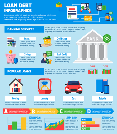 loan: Loan debt infographics flat layout with banking services information and popular loans statistics vector illustration