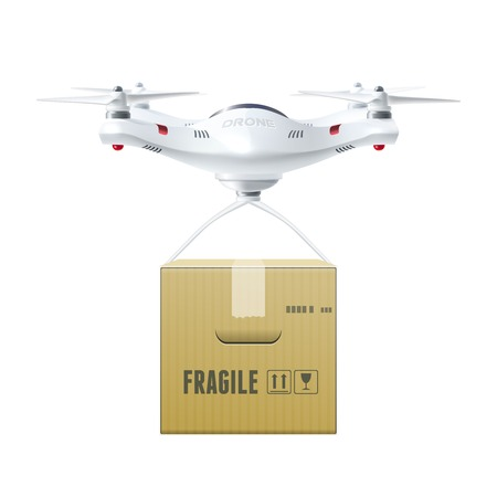 box design: Unmanned drone with box of fragile cargo in realistic style design concept isolated vector illustration