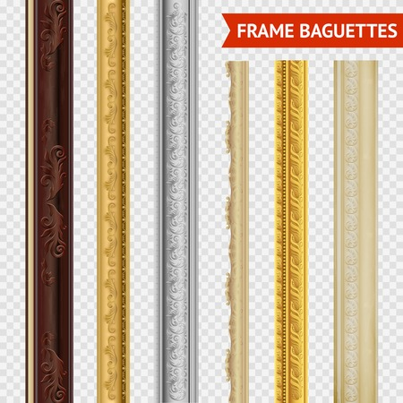 Frame baguette set on transparent  background wood carving baroque style vector illustration