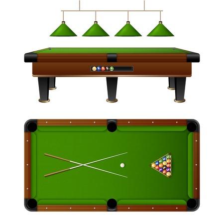 bola de billar: mesa y muebles de la piscina Billar establecidos con señal de múltiples bolas de colores ilustración vectorial de la lámpara Vectores