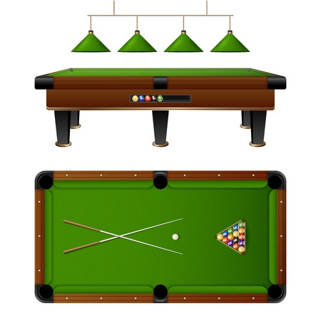 pool cue: Pool Billiard table and furniture set with cue multi colored balls lamp vector illustration