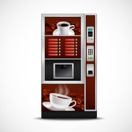 Realistico distributore automatico caffè con tazze piattini e grani tostati su sfondo bianco isolato illustrazione vettoriale