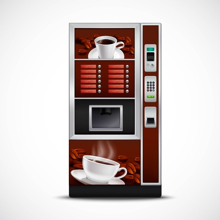 Realistic coffee vending machine with cups saucers and roasted grains on white background isolated vector illustration