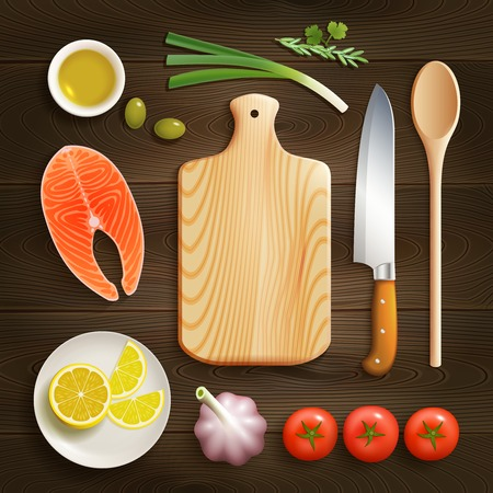 cutting board: Cooking theme flat lay photo composition with cutting board raw salmon and lemon dark background vector illustration