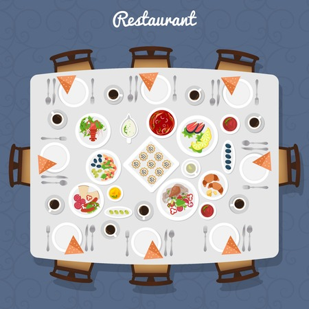 buffet dinner: Restaurant Table poster with different meals and free places around top view vector illustration