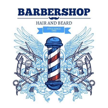 Barbier coupe taille de la barbe style traditionnel et branché pour les hommes publicité affiche plate abstraite illustration vectorielle Vecteurs