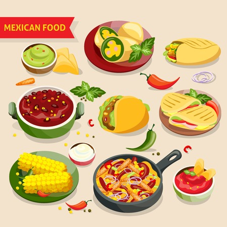 illustraion: Mexican food set with traditional mexico cuisine dishes isolated vector illustraion Illustration