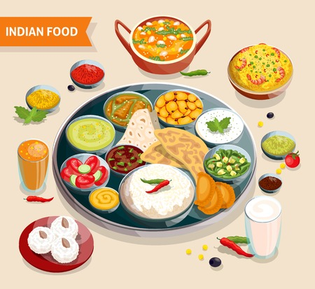 curry rice: Indian food composition of dishes with seafood beans verdure and sauces also beverages and sweets vector illustration