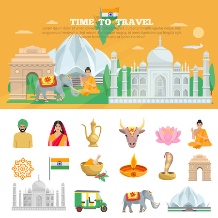 hindu temple: India travel set with tourist objects and symbols of country isolated vector illustration Illustration