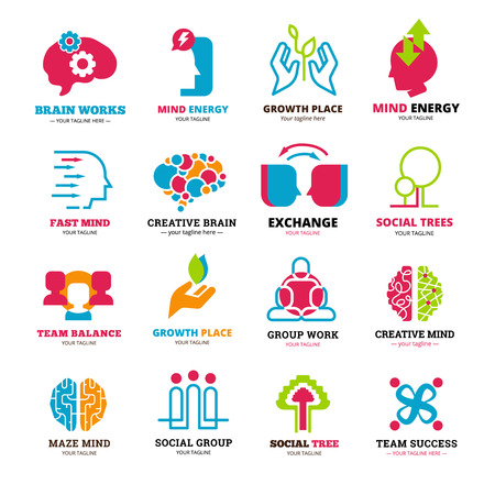 mind set: Logo set of social relationship signs presenting team or group working and mind storming flat isolated vector illustration