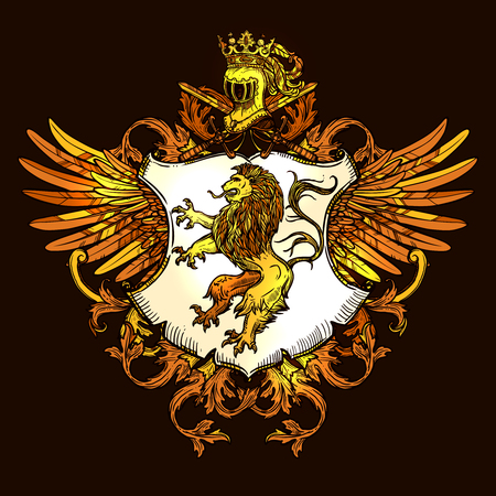 lion with wings: Royal heraldic emblem with wings shield crown and lion golden on black icon poster print vector illustration Illustration