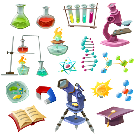 cartoon atom: Science decorative icons set with chemical experiments dna microscope telescope biology magnet burner eureka isolated vector illustration Illustration