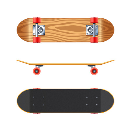 projections: Skateboard black deck top side and maple wood bottom views projections realistic on white background vector illustration