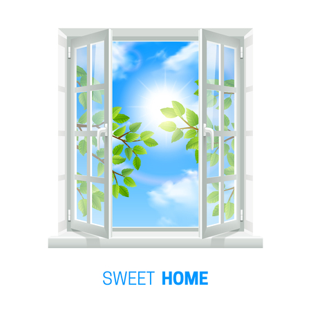 Open white window on bright sunny day realistic indoor view icon with green leaves outside vector illustration Illustration