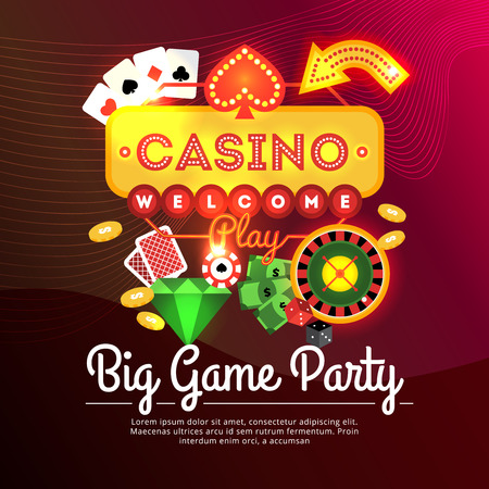 big game: Big game party casino advertising poster with neon sign and casino elements flat vector illustration