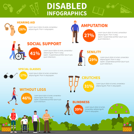 amputation: Disability infographics layout with statistics of people with disabilities on crutches prosthesis and in wheelchair flat vector illustration