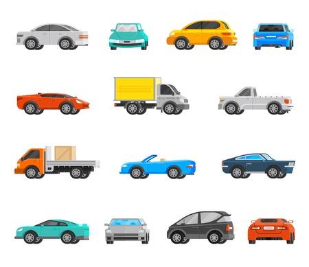 orthogonal: Vehicles orthogonal icons set with cars and trucks flat isolated vector illustration