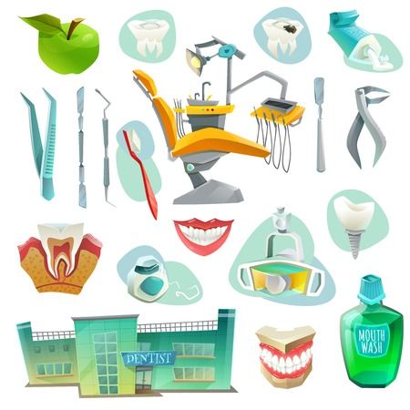 dental pulp: Dental office decorative icons set with workplace medical instruments objects for health of teeth isolated vector illustration