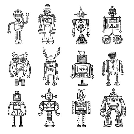 doodles: Funny robots toys doodle style black icons pictures collection with tinker man and owl isolated vector illustration