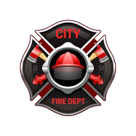 Organización departamento de bomberos de la ciudad de diseño del logotipo del emblema realista con ejes cruzados y bombas rojo ilustración vectorial negro Foto de archivo - 54758066