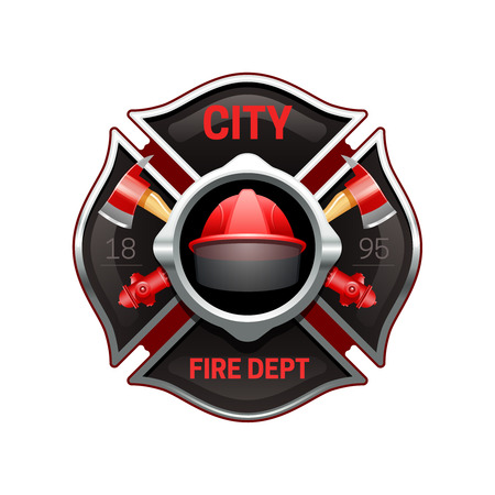 City fire department organization realistic logo emblem design with crossed axes and pumps red black vector illustration