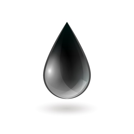 oil color: Falling single oil drop of black shiny color on white background isolated vector illustration Illustration