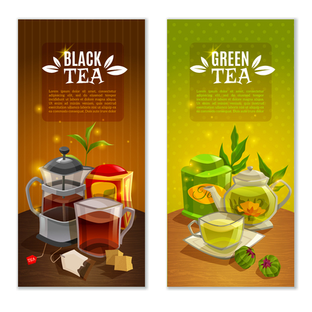 Two banners set with black and green tea on the table with accessories on colored background vector illustration Illustration