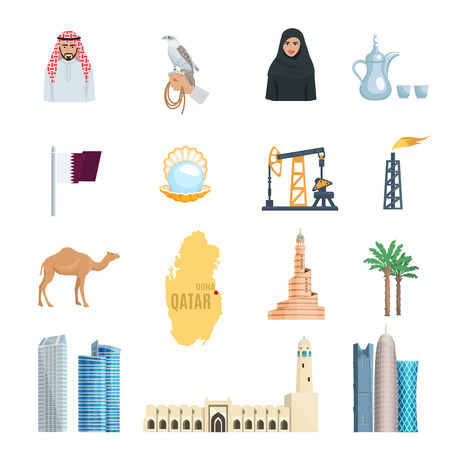 petroleum blue: Qatar flat icons set with oil natural gas mosques skyscrapers and symbols of culture isolated vector illustration