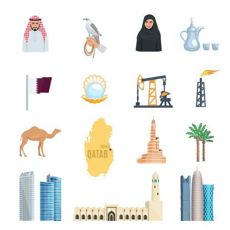 Qatar icônes plates définies avec des mosquées huile de gaz naturel gratte-ciel et les symboles de la culture isolé illustration vectorielle Vecteurs