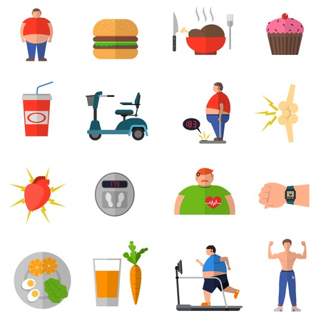 collection of people: Transformation from obesity to healthy lifestyle with icons of good nutrition wrong food isolated vector illustration