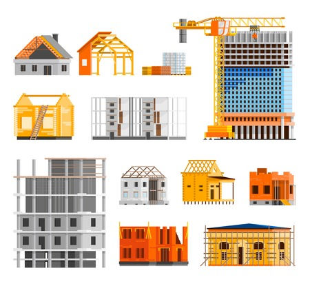 orthogonal: Construction orthogonal icons set with building a house symbols flat isolated vector illustration
